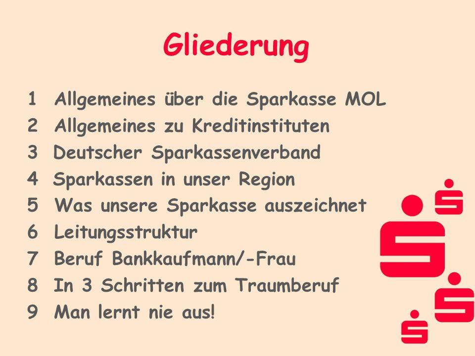 1Allgemeines über die Sparkasse MOL 2Allgemeines zu Kreditinstituten 3 Deutscher Sparkassenverband 4 Sparkassen in unser Region 5 Was unsere Sparkasse
