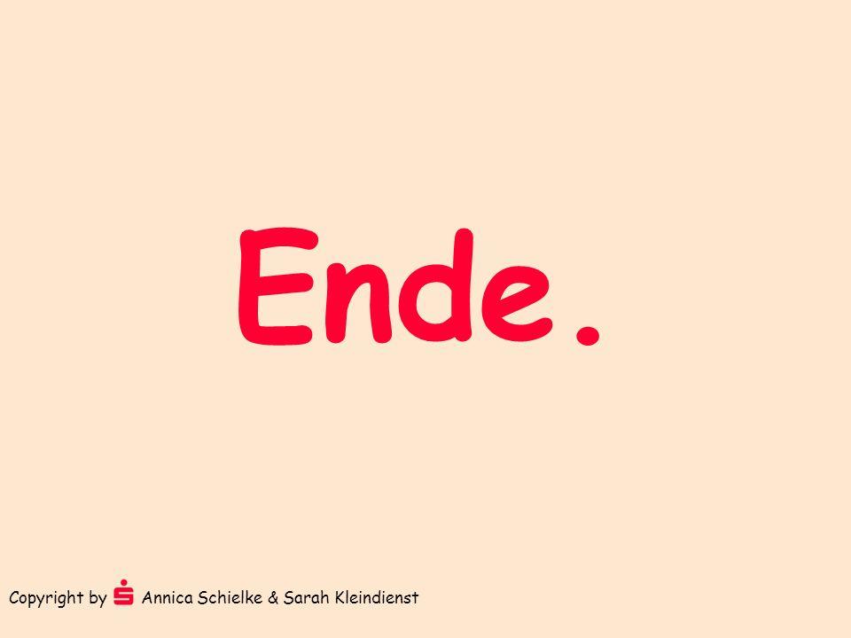 Ende. Copyright by Annica Schielke & Sarah Kleindienst