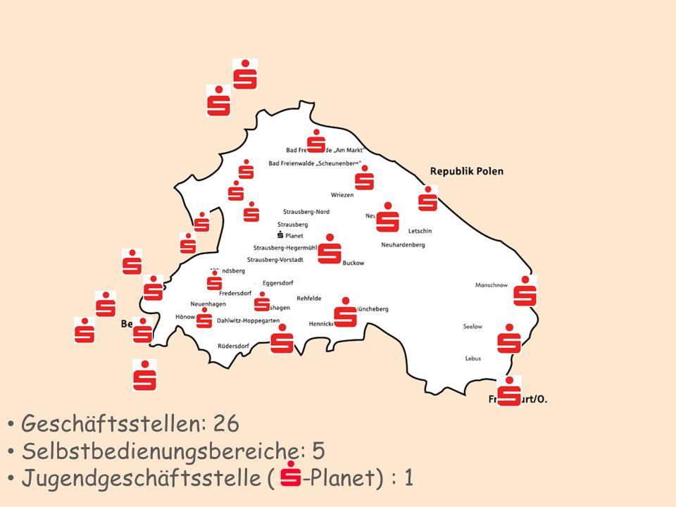 Geschäftsstellen: 26 Selbstbedienungsbereiche: 5 Jugendgeschäftsstelle ( -Planet) : 1