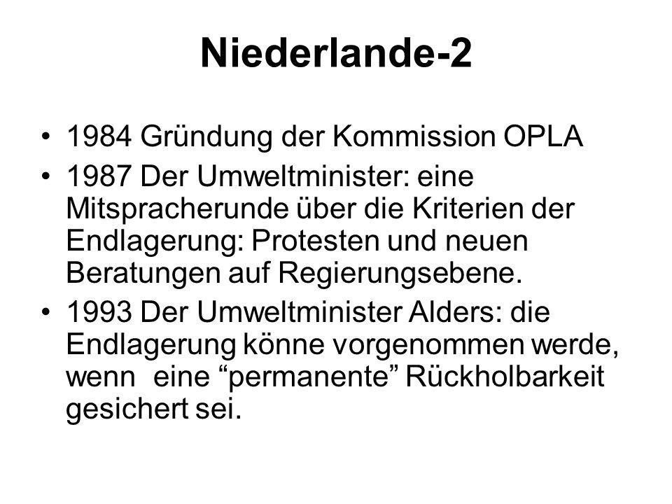 Niederlande-2 1984 Gründung der Kommission OPLA 1987 Der Umweltminister: eine Mitspracherunde über die Kriterien der Endlagerung: Protesten und neuen