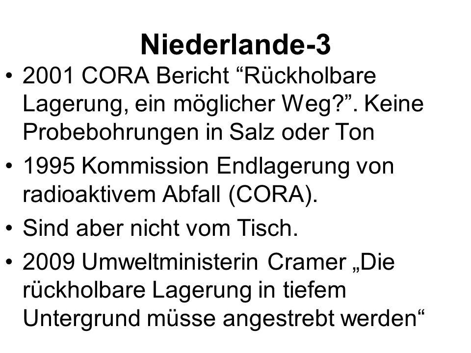 Niederlande-3 2001 CORA Bericht Rückholbare Lagerung, ein möglicher Weg?. Keine Probebohrungen in Salz oder Ton 1995 Kommission Endlagerung von radioa