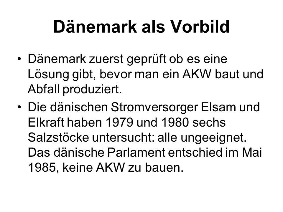 Dänemark als Vorbild Dänemark zuerst geprüft ob es eine Lösung gibt, bevor man ein AKW baut und Abfall produziert. Die dänischen Stromversorger Elsam