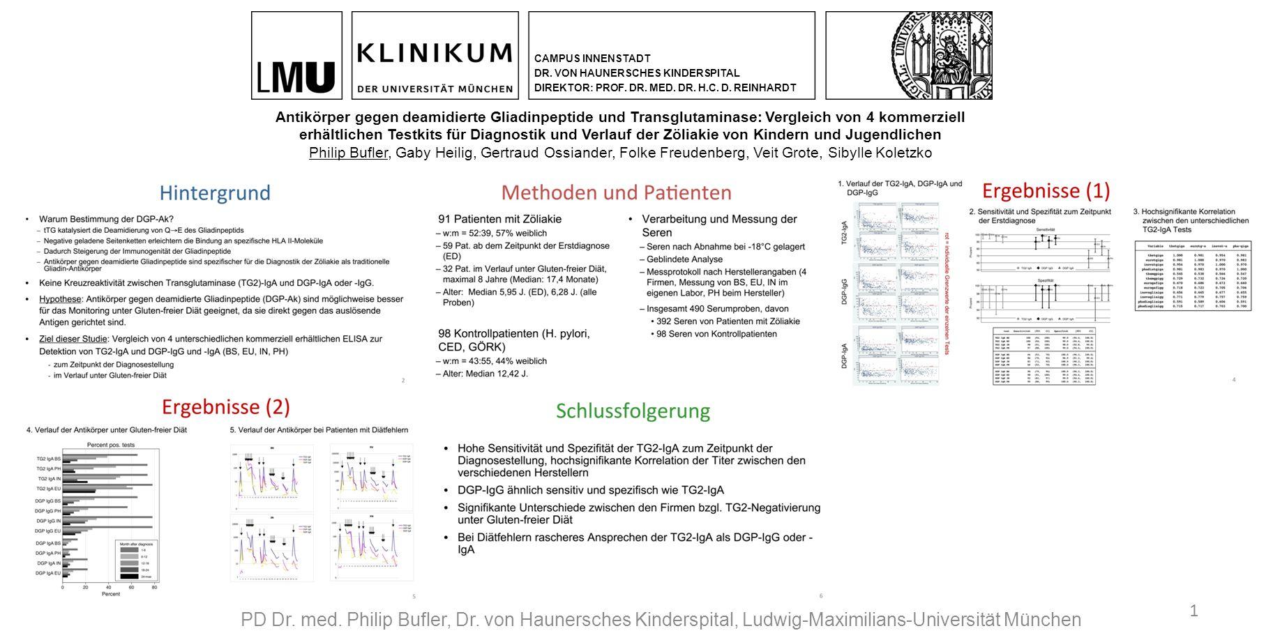 1 PD Dr. med. Philip Bufler, Dr. von Haunersches Kinderspital, Ludwig-Maximilians-Universität München CAMPUS INNENSTADT DR. VON HAUNERSCHES KINDERSPIT