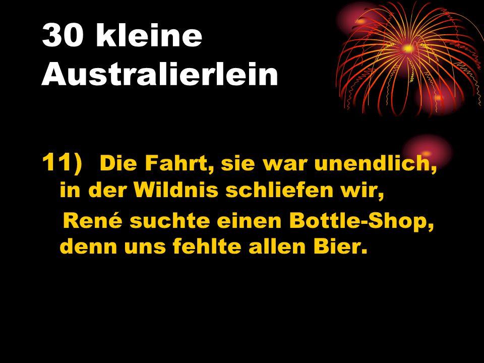 30 kleine Australierlein 11) Die Fahrt, sie war unendlich, in der Wildnis schliefen wir, René suchte einen Bottle-Shop, denn uns fehlte allen Bier.