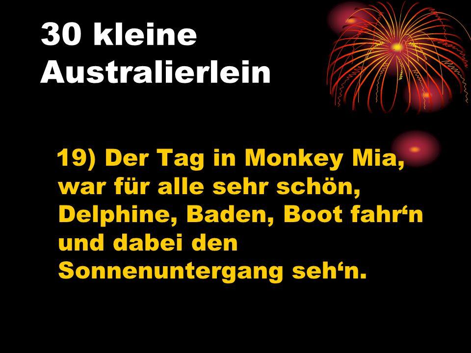 30 kleine Australierlein 19) Der Tag in Monkey Mia, war für alle sehr schön, Delphine, Baden, Boot fahrn und dabei den Sonnenuntergang sehn.