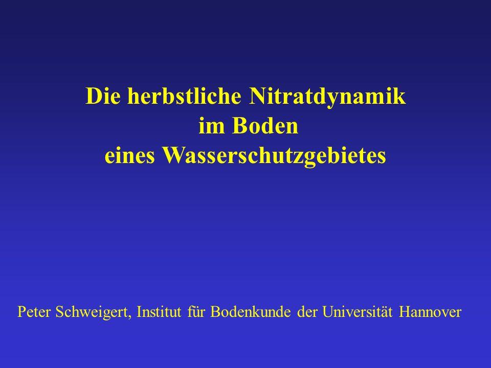 Die herbstliche Nitratdynamik im Boden eines Wasserschutzgebietes Peter Schweigert, Institut für Bodenkunde der Universität Hannover