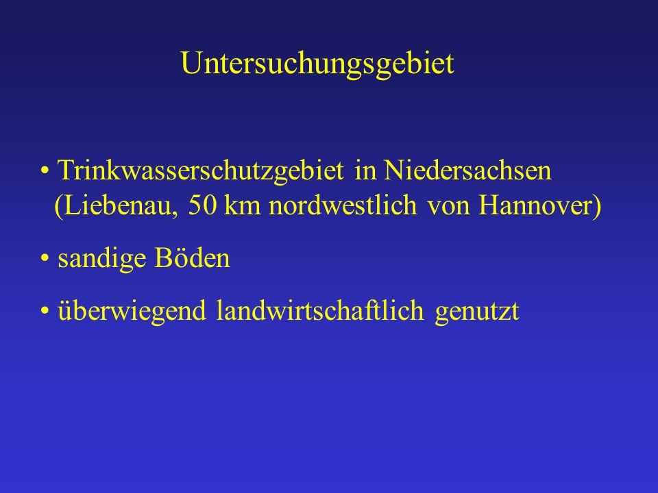 Untersuchungsgebiet Trinkwasserschutzgebiet in Niedersachsen (Liebenau, 50 km nordwestlich von Hannover) sandige Böden überwiegend landwirtschaftlich