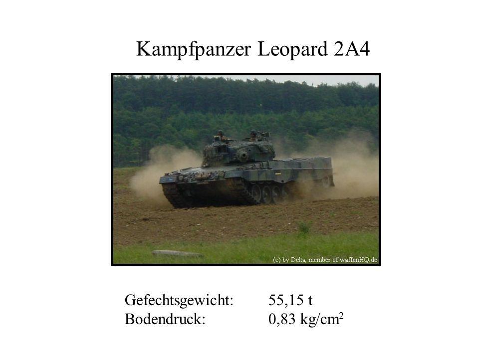 Kampfpanzer Leopard 2A4 Gefechtsgewicht:55,15 t Bodendruck: 0,83 kg/cm 2
