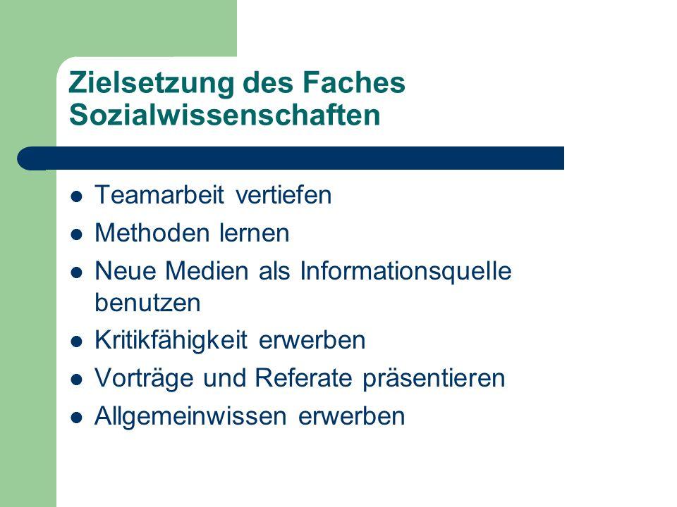 Zielsetzung des Faches Sozialwissenschaften Teamarbeit vertiefen Methoden lernen Neue Medien als Informationsquelle benutzen Kritikfähigkeit erwerben