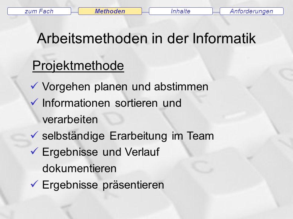Arbeitsmethoden in der Informatik zum FachMethodenAnforderungenInhaltezum Fach Methoden Projektmethode Vorgehen planen und abstimmen Informationen sortieren und verarbeiten selbständige Erarbeitung im Team Ergebnisse und Verlauf dokumentieren Ergebnisse präsentieren