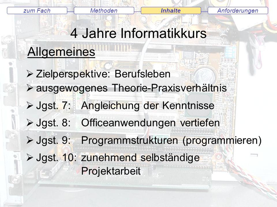 4 Jahre Informatikkurs Anforderungenzum FachMethodenInhalteMethodenInhalte Zielperspektive: Berufsleben ausgewogenes Theorie-Praxisverhältnis Jgst.