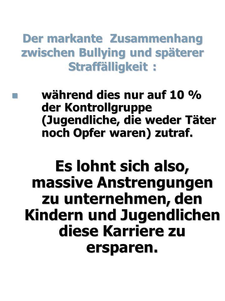 Der markante Zusammenhang zwischen Bullying und späterer Straffälligkeit : während dies nur auf 10 % der Kontrollgruppe (Jugendliche, die weder Täter noch Opfer waren) zutraf.
