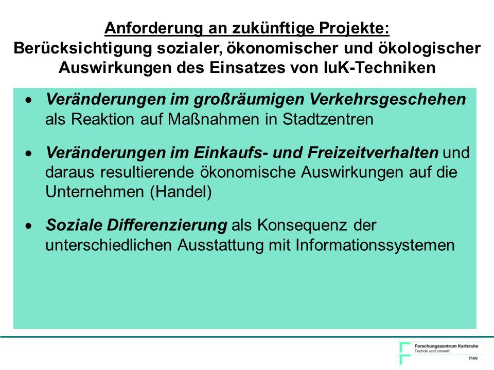 Anforderung an zukünftige Projekte: Berücksichtigung sozialer, ökonomischer und ökologischer Auswirkungen des Einsatzes von IuK-Techniken Veränderunge