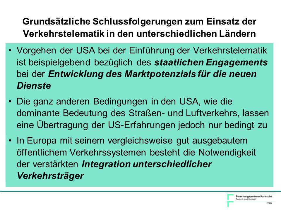 Grundsätzliche Schlussfolgerungen zum Einsatz der Verkehrstelematik in den unterschiedlichen Ländern Vorgehen der USA bei der Einführung der Verkehrst
