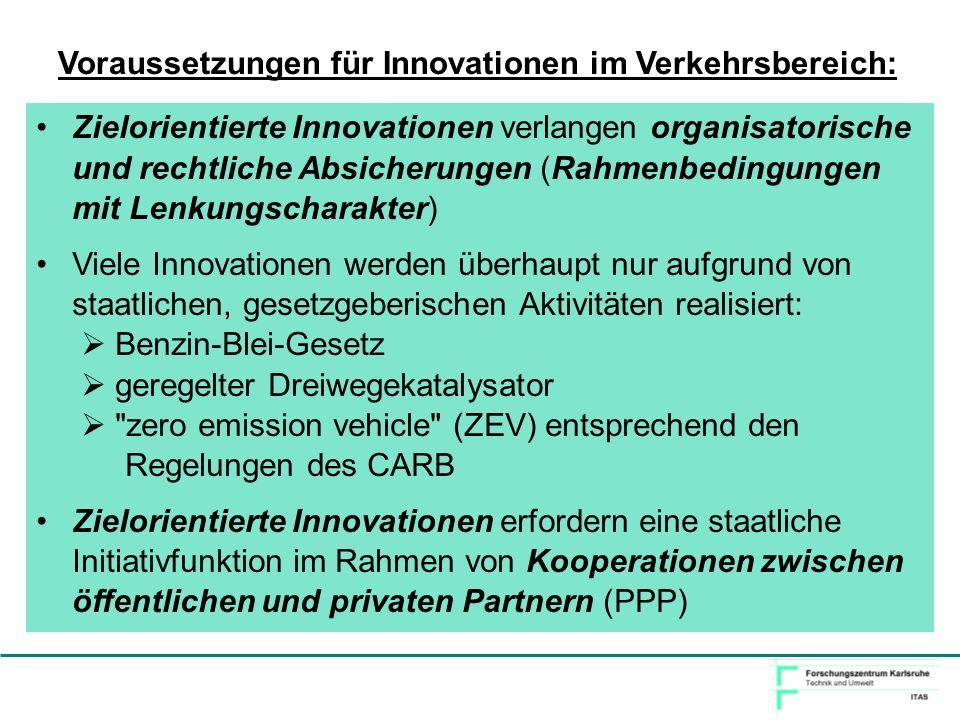 Voraussetzungen für Innovationen im Verkehrsbereich: Zielorientierte Innovationen verlangen organisatorische und rechtliche Absicherungen (Rahmenbedin