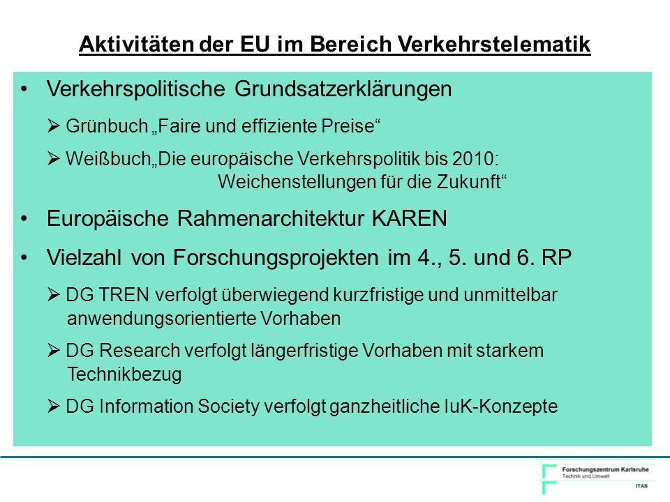 Verkehrspolitische Grundsatzerklärungen GrünbuchFaire und effiziente Preise WeißbuchDie europäische Verkehrspolitik bis 2010: Weichenstellungen für di