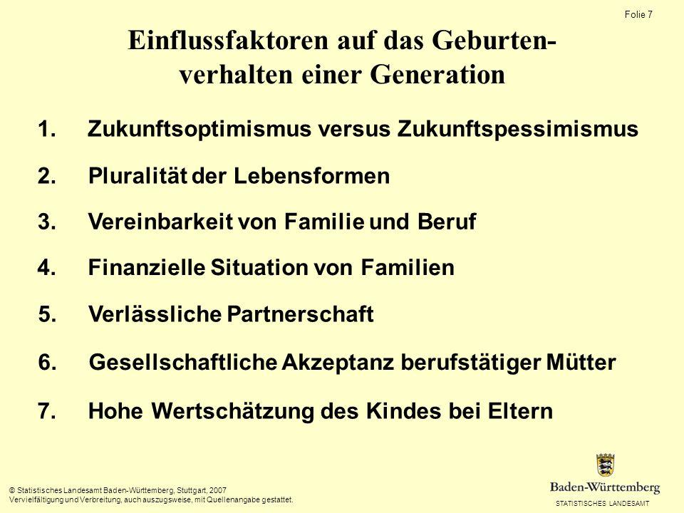 STATISTISCHES LANDESAMT Folie 7 © Statistisches Landesamt Baden-Württemberg, Stuttgart, 2007 Vervielfältigung und Verbreitung, auch auszugsweise, mit Quellenangabe gestattet.