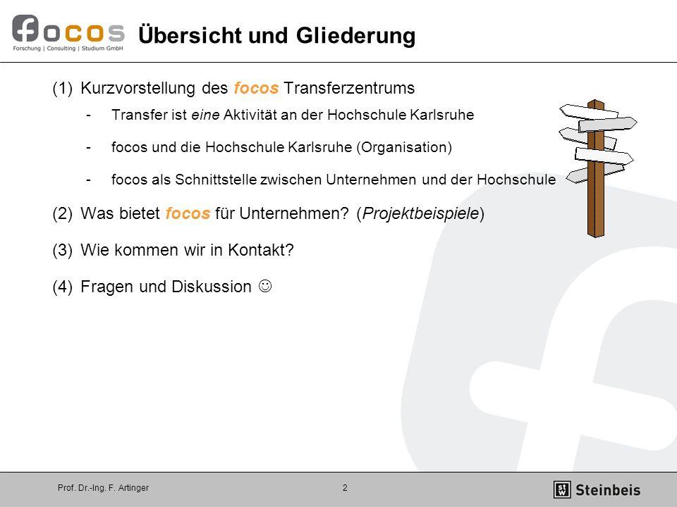 Prof. Dr.-Ing. F. Artinger2 (1)Kurzvorstellung des focos Transferzentrums -Transfer ist eine Aktivität an der Hochschule Karlsruhe -focos und die Hoch