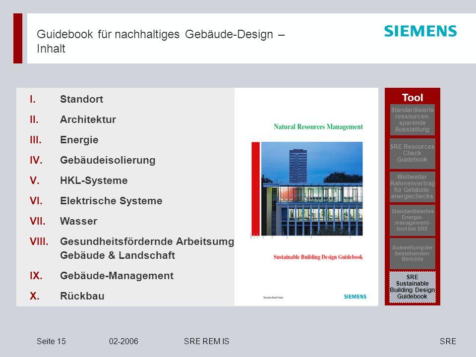 SRESeite 1502-2006SRE REM IS Guidebook für nachhaltiges Gebäude-Design – Inhalt Standort Architektur Energie Gebäudeisolierung HKL-Systeme Elektrische