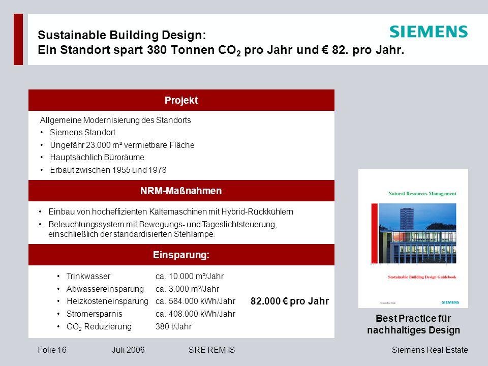 Siemens Real EstateFolie 16Juli 2006SRE REM IS NRM-Maßnahmen Projekt Einbau von hocheffizienten Kältemaschinen mit Hybrid-Rückkühlern Beleuchtungssyst
