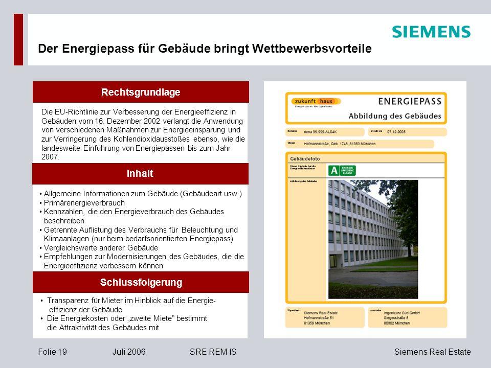 Siemens Real EstateFolie 19Juli 2006SRE REM IS Der Energiepass für Gebäude bringt Wettbewerbsvorteile Die EU-Richtlinie zur Verbesserung der Energieef