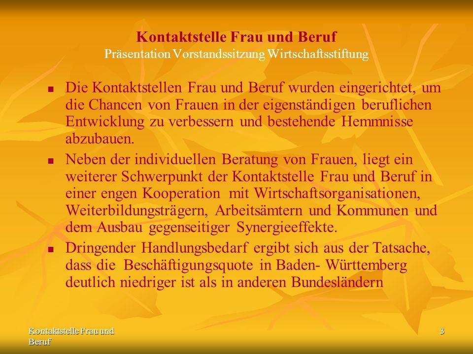 Kontaktstelle Frau und Beruf 4 Kontaktstelle Frau und Beruf Präsentation Vorstandssitzung Wirtschaftsstiftung Die Wirtschaftsstiftung Südwest stellt den Bezug der Kontaktstelle Frau und Beruf in die gesamte Technologie Region Karlsruhe her.