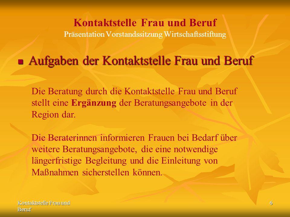 Kontaktstelle Frau und Beruf 6 Kontaktstelle Frau und Beruf Präsentation Vorstandssitzung Wirtschaftsstiftung Aufgaben der Kontaktstelle Frau und Beru