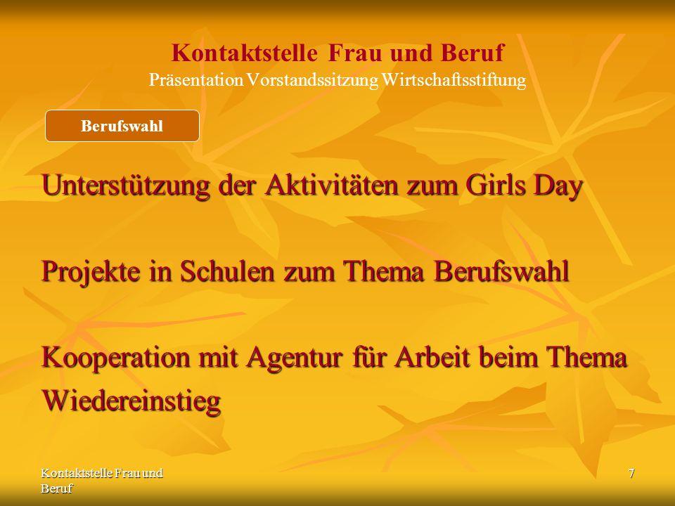Kontaktstelle Frau und Beruf 7 Kontaktstelle Frau und Beruf Präsentation Vorstandssitzung Wirtschaftsstiftung Unterstützung der Aktivitäten zum Girls