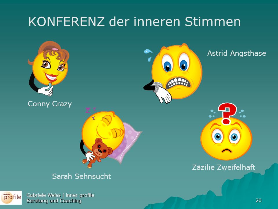 20 Conny Crazy Sarah Sehnsucht Astrid Angsthase Zäzilie Zweifelhaft KONFERENZ der inneren Stimmen Gabriele Weiss | inner profile Beratung und Coaching