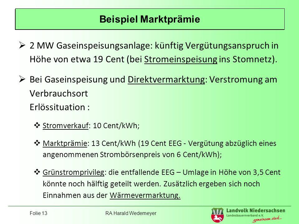 Folie 13RA Harald Wedemeyer Position Landvolk 2 MW Gaseinspeisungsanlage: künftig Vergütungsanspruch in Höhe von etwa 19 Cent (bei Stromeinspeisung in