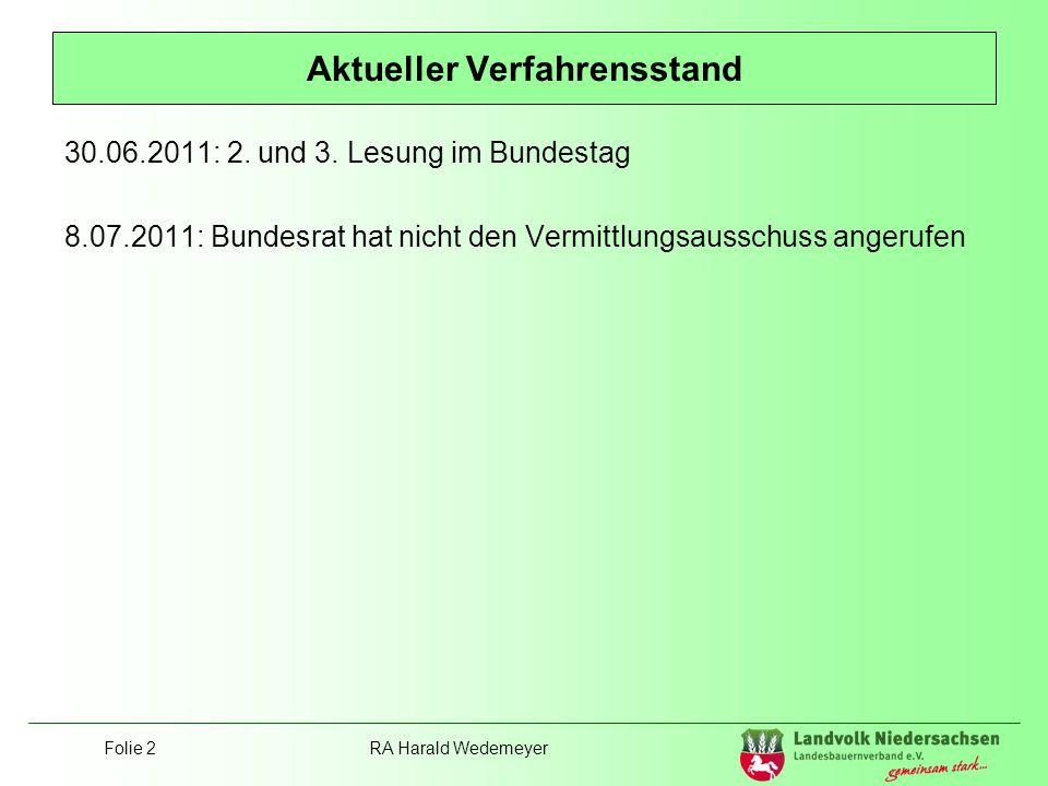 Folie 2RA Harald Wedemeyer Aktueller Verfahrensstand 30.06.2011: 2. und 3. Lesung im Bundestag 8.07.2011: Bundesrat hat nicht den Vermittlungsausschus