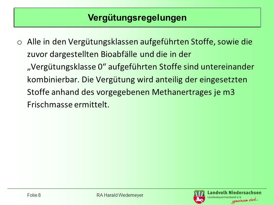 Folie 8RA Harald Wedemeyer Position Landvolk o Alle in den Vergütungsklassen aufgeführten Stoffe, sowie die zuvor dargestellten Bioabfälle und die in