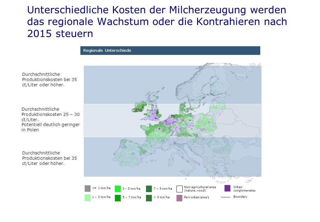 Regionale Unterschiede ) Durchschnittliche Produktionskosten bei 35 ct/Liter oder höher. <= 1 ton/ha 1 – 3 ton/ha 3 - 5 ton/ha 5 – 7 ton/ha 7 – 9 ton/