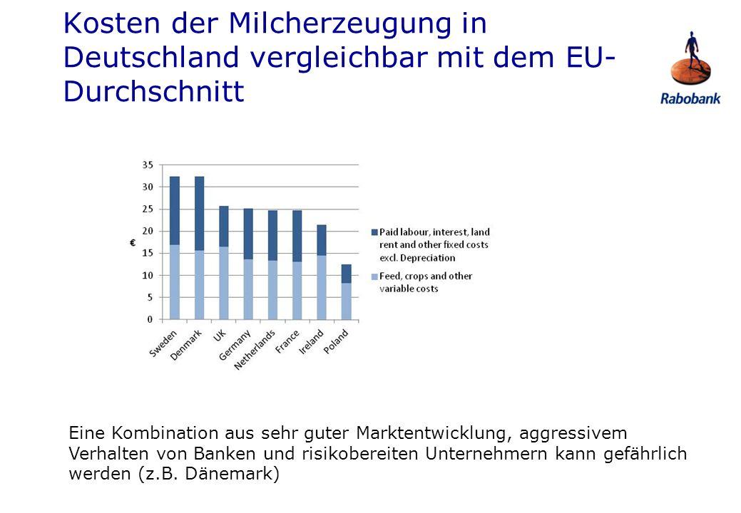 Kosten der Milcherzeugung in Deutschland vergleichbar mit dem EU- Durchschnitt Eine Kombination aus sehr guter Marktentwicklung, aggressivem Verhalten