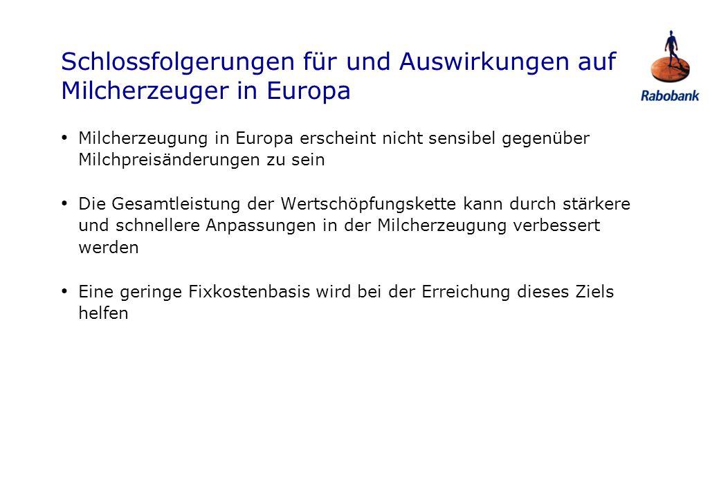 Schlossfolgerungen für und Auswirkungen auf Milcherzeuger in Europa Milcherzeugung in Europa erscheint nicht sensibel gegenüber Milchpreisänderungen z