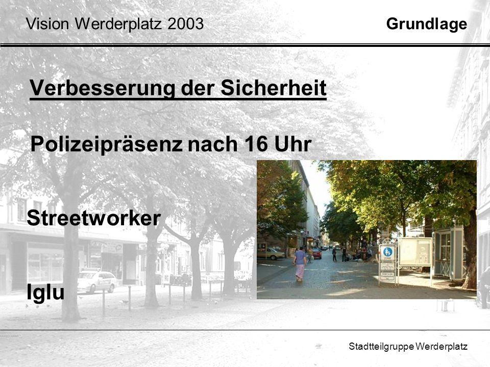 Stadtteilgruppe Werderplatz Verbesserung der Sicherheit Streetworker Iglu Polizeipräsenz nach 16 Uhr GrundlageVision Werderplatz 2003