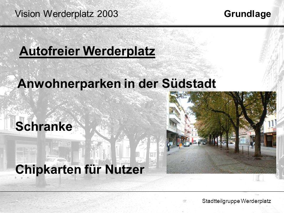 Stadtteilgruppe Werderplatz Autofreier Werderplatz Schranke Chipkarten für Nutzer Anwohnerparken in der Südstadt GrundlageVision Werderplatz 2003