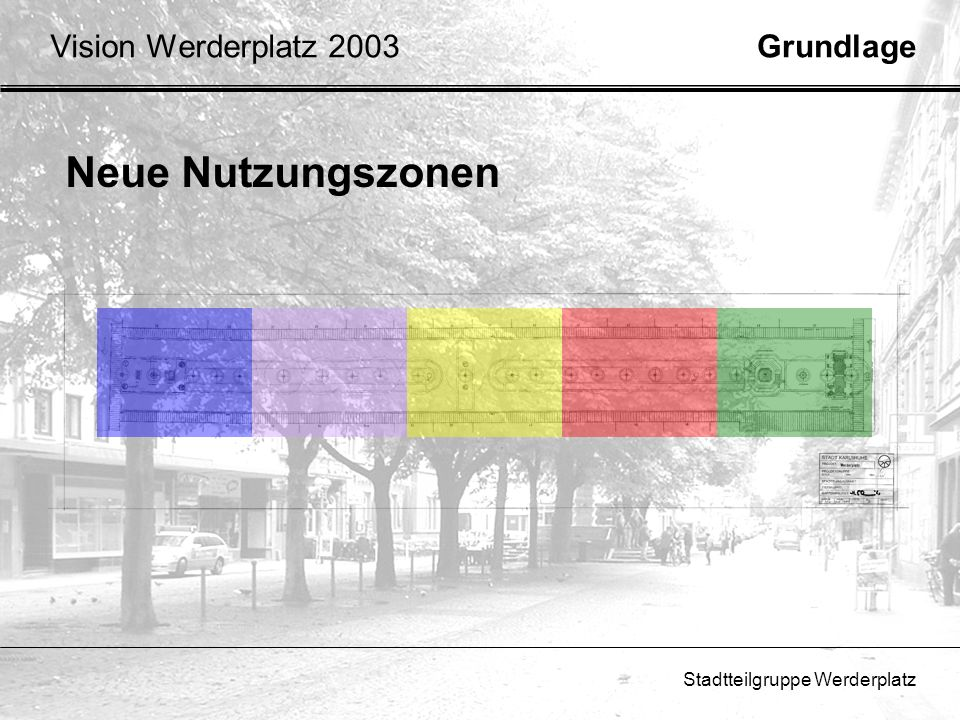 Stadtteilgruppe Werderplatz GrundlageVision Werderplatz 2003 Neue Nutzungszonen