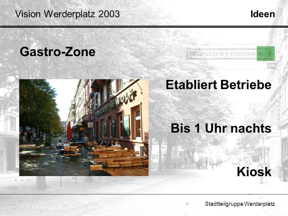 Stadtteilgruppe Werderplatz Gastro-Zone IdeenVision Werderplatz 2003 Bis 1 Uhr nachts Kiosk Etabliert Betriebe