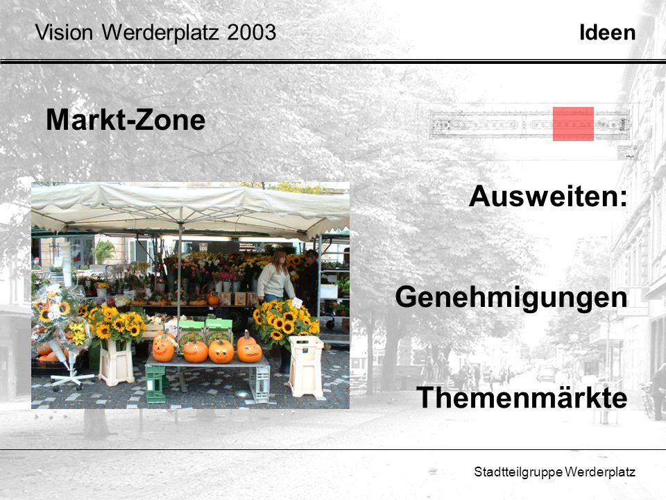 Stadtteilgruppe Werderplatz Markt-Zone Genehmigungen Themenmärkte Ausweiten: IdeenVision Werderplatz 2003