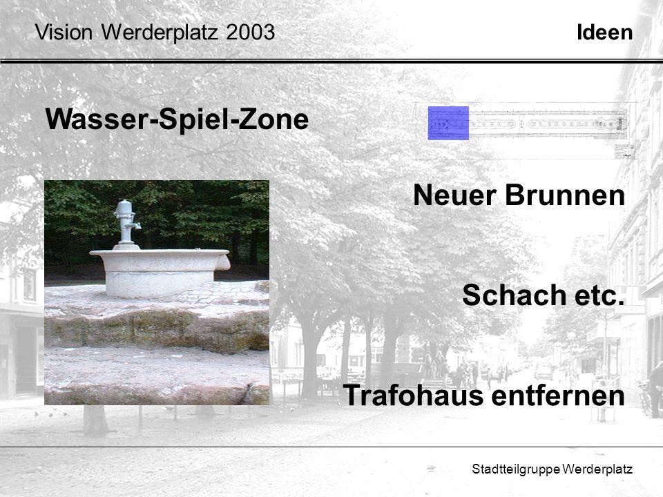 Stadtteilgruppe Werderplatz Wasser-Spiel-Zone Schach etc. Trafohaus entfernen Neuer Brunnen IdeenVision Werderplatz 2003