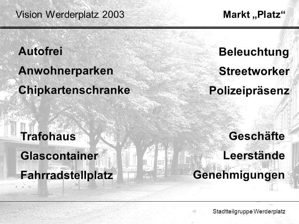 Stadtteilgruppe Werderplatz Autofrei Anwohnerparken Chipkartenschranke Markt PlatzVision Werderplatz 2003 Beleuchtung Streetworker Polizeipräsenz Gesc