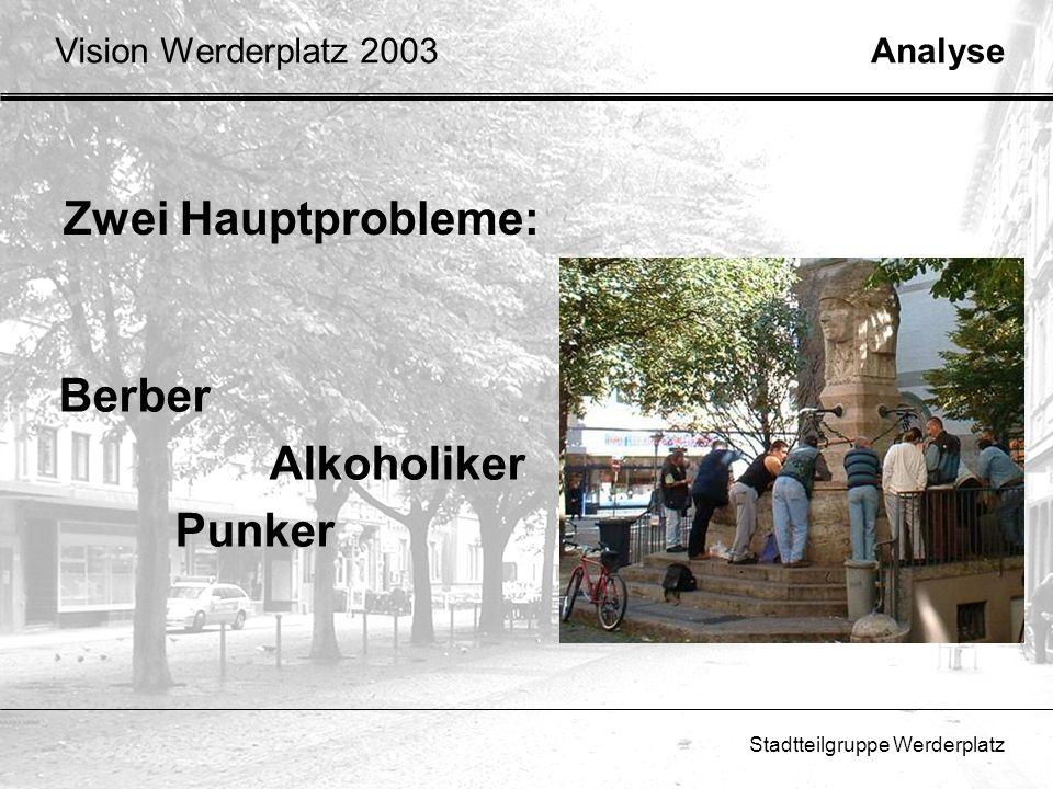 Stadtteilgruppe Werderplatz Zwei Hauptprobleme: AnalyseVision Werderplatz 2003 Berber Alkoholiker Punker
