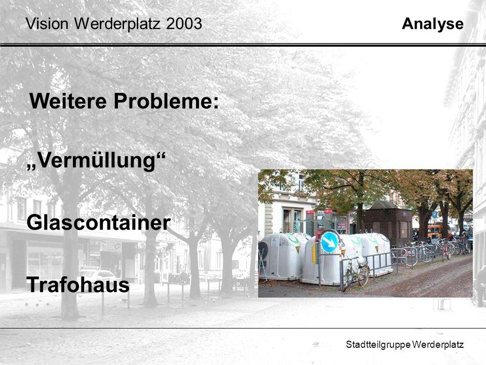 Stadtteilgruppe Werderplatz Weitere Probleme: AnalyseVision Werderplatz 2003 Vermüllung Glascontainer Trafohaus