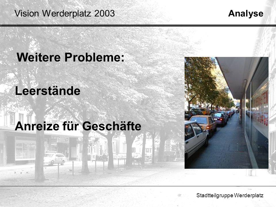 Stadtteilgruppe Werderplatz Weitere Probleme: Leerstände Anreize für Geschäfte AnalyseVision Werderplatz 2003