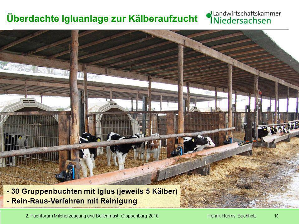 2. Fachforum Milcherzeugung und Bullenmast, Cloppenburg 2010 Henrik Harms, Buchholz 10 Überdachte Igluanlage zur Kälberaufzucht - 30 Gruppenbuchten mi