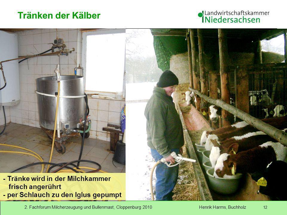 2. Fachforum Milcherzeugung und Bullenmast, Cloppenburg 2010 Henrik Harms, Buchholz 12 - Tränke wird in der Milchkammer frisch angerührt - per Schlauc