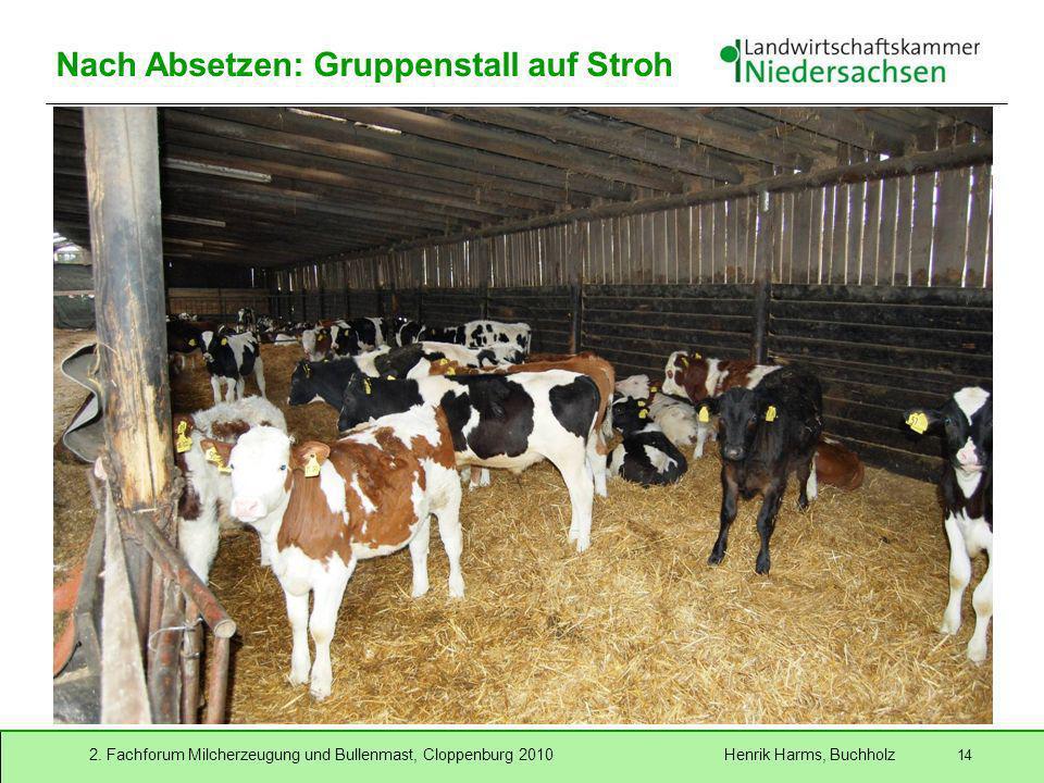 2. Fachforum Milcherzeugung und Bullenmast, Cloppenburg 2010 Henrik Harms, Buchholz 14 Nach Absetzen: Gruppenstall auf Stroh