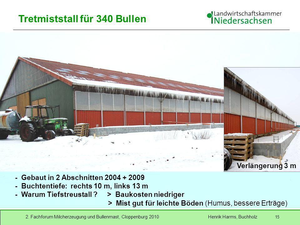 2. Fachforum Milcherzeugung und Bullenmast, Cloppenburg 2010 Henrik Harms, Buchholz 15 Tretmiststall für 340 Bullen - Gebaut in 2 Abschnitten 2004 + 2