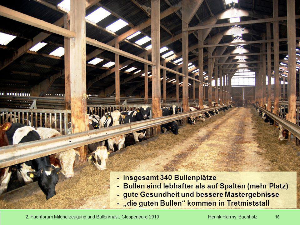 2. Fachforum Milcherzeugung und Bullenmast, Cloppenburg 2010 Henrik Harms, Buchholz 16 - insgesamt 340 Bullenplätze - Bullen sind lebhafter als auf Sp